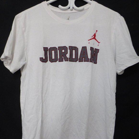 AIR JORDAN, AJ, white tee.  Air Jordan logo, front